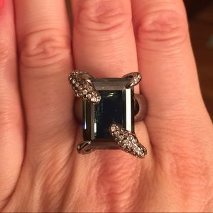 Swarovski black crystal snake ring